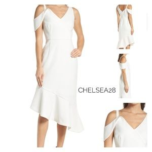 🆕Chelsea28 White Asymmetrical Cocktail Dress SZ 0